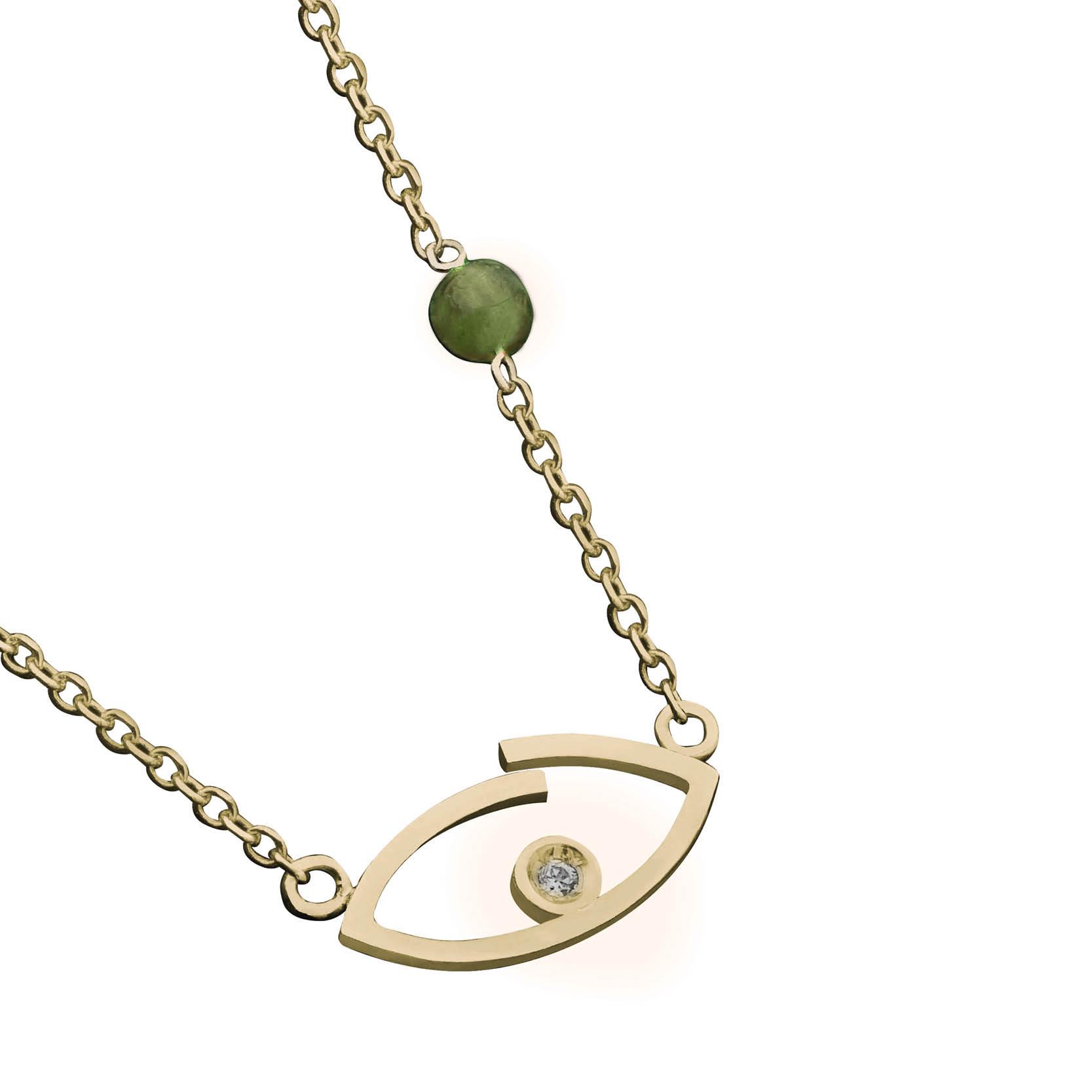 Κολιέ Μάτι με Ζιργκόν Χρυσός Κ14 - 03Ν372