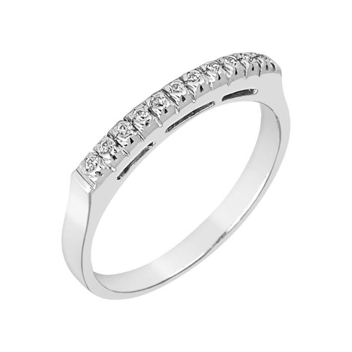 Δαχτυλίδι Μισόβερο με Διαμάντια Λευκόχρυσος Κ18 - 91279