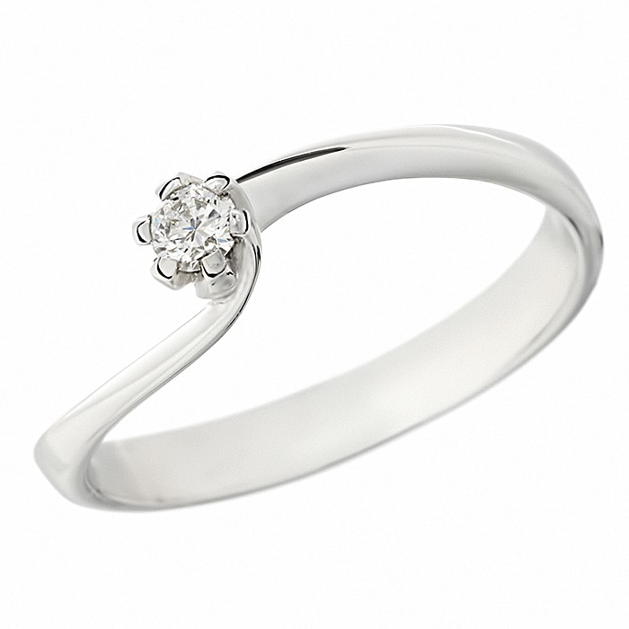Δαχτυλίδι Μονόπετρο με Διαμάντι Λευκόχρυσος Κ18 - 05366
