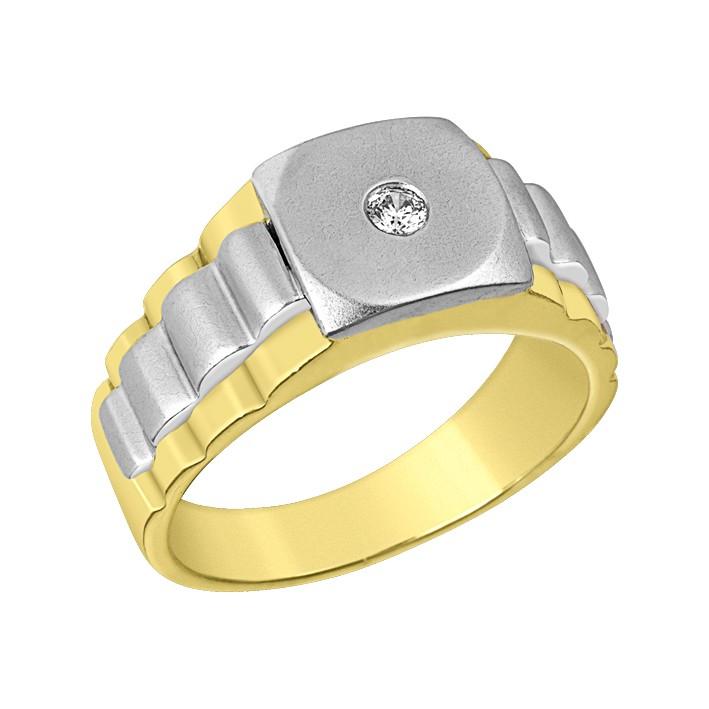 Δαχτυλίδι Ανδρικό με Ζιργκόν Δίχρωμο Κ14 - 90188