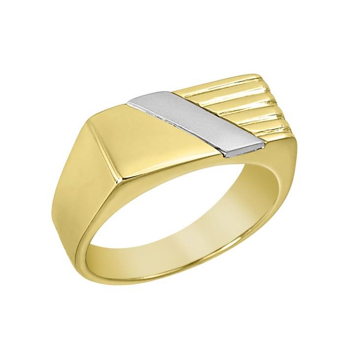 Δαχτυλίδι Ανδρικό Δίχρωμο Κ14 - 90203