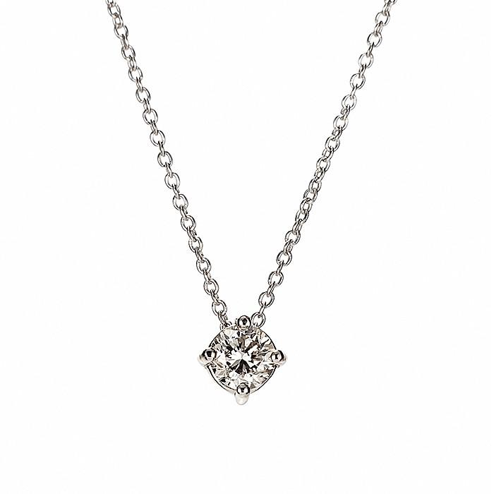 Μονόπετρο Μενταγιόν με Διαμάντια Λευκόχρυσος Κ18 - 09026