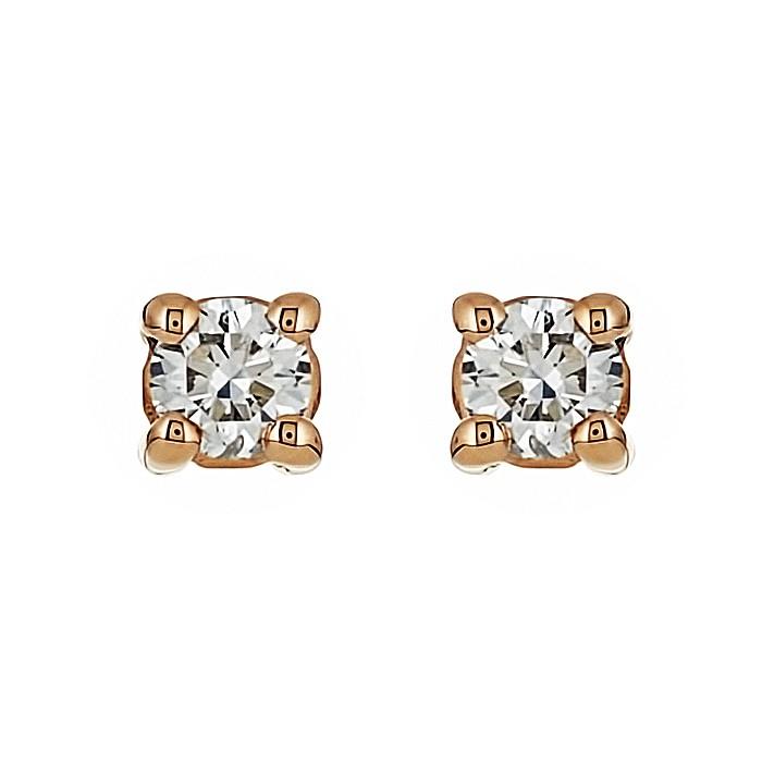 Σκουλαρίκια Μονόπετρα με Διαμάντια Ροζ Χρυσός Κ18 - 09026