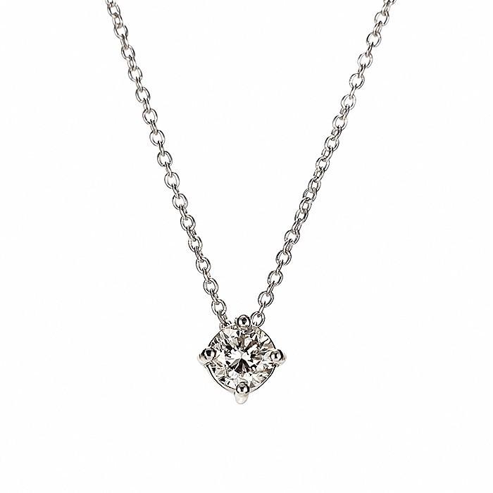 Μονόπετρο Μενταγιόν με Διαμάντια Λευκόχρυσος Κ18 - 09027