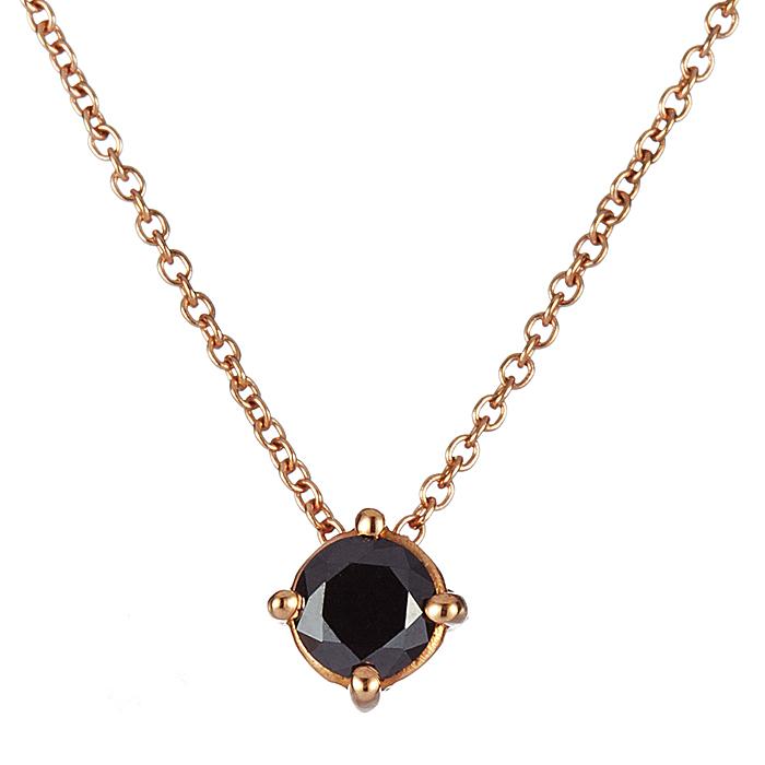 Μονόπετρο Μενταγιόν με Μαύρο Διαμάντι Ροζ Χρυσός Κ18 - 09027BL