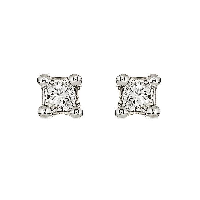 Σκουλαρίκια Μονόπετρα με Διαμάντια Λευκόχρυσος Κ18 - 09029