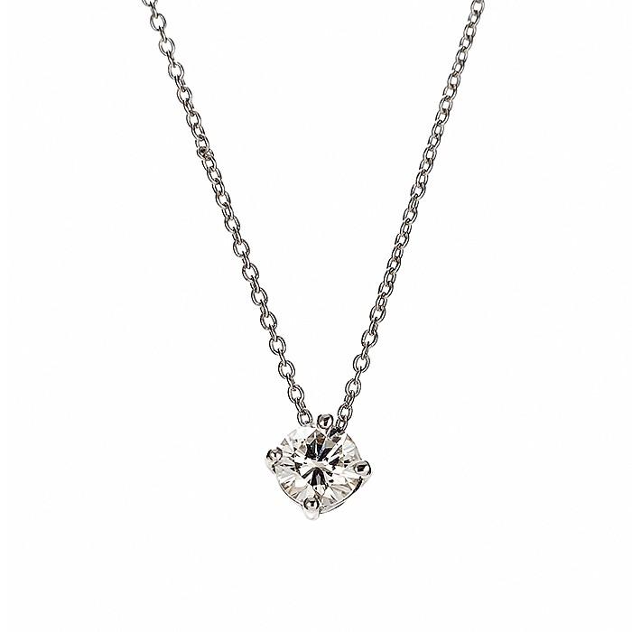 Μονόπετρο Μενταγιόν με Διαμάντι Λευκόχρυσος Κ18 - 09031