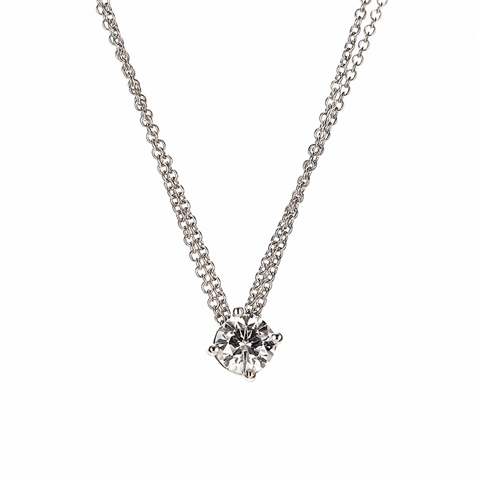 Μονόπετρο Μενταγιόν με Διαμάντι Λευκόχρυσος K18 - 090312P