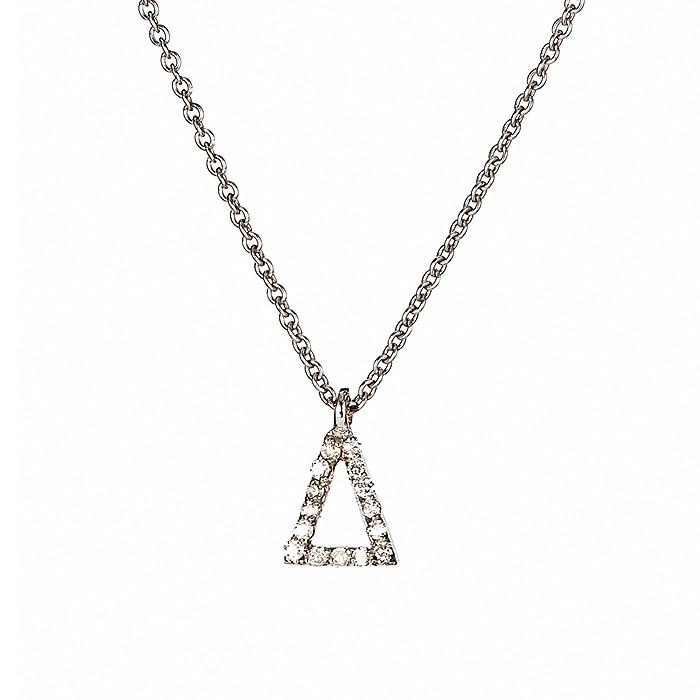 Μενταγιόν Μονόγραμμα Δ με Διαμάντια Λευκόχρυσος Κ18 - 10014Δ