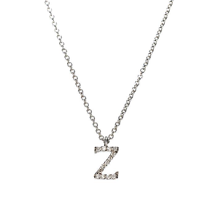 Μενταγιόν Μονόγραμμα Ζ με Διαμάντια Λευκόχρυσος Κ18 - 10014Z
