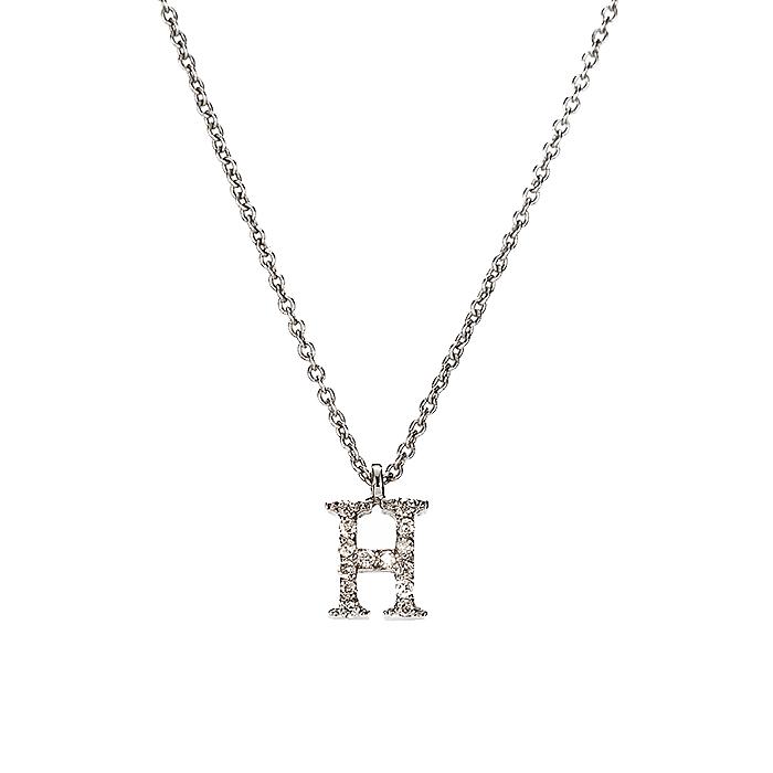 Μενταγιόν Μονόγραμμα Η με Διαμάντια Λευκόχρυσος Κ18 - 10014H