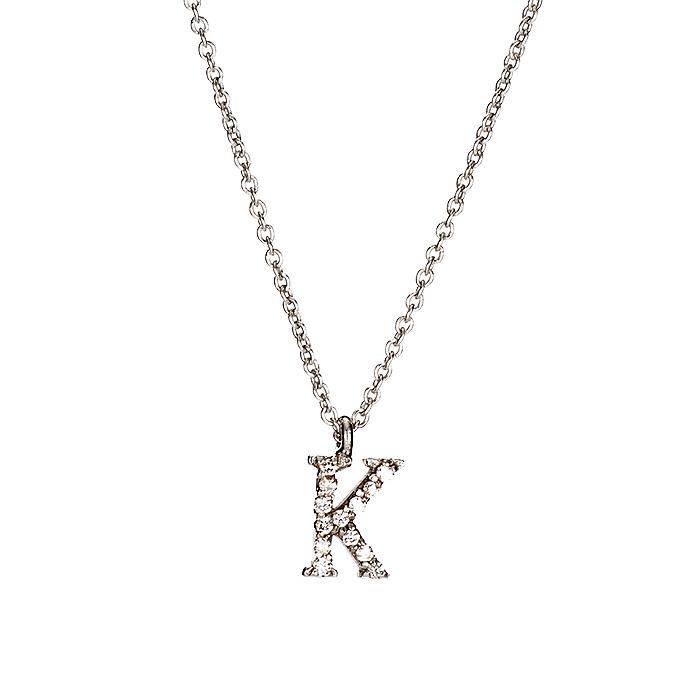 Μενταγιόν Μονόγραμμα Κ με Διαμάντια Λευκόχρυσος Κ18 - 10014Κ