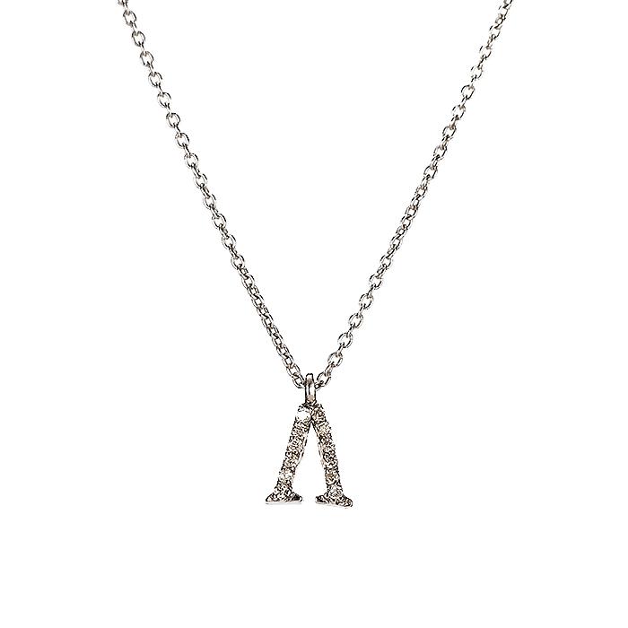 Μενταγιόν Μονόγραμμα Λ με Διαμάντια Λευκόχρυσος Κ18 - 10014Λ