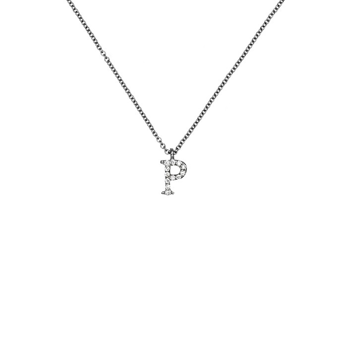 Μενταγιόν Μονόγραμμα Ρ με Διαμάντια Λευκόχρυσος Κ18 - 10014Ρ