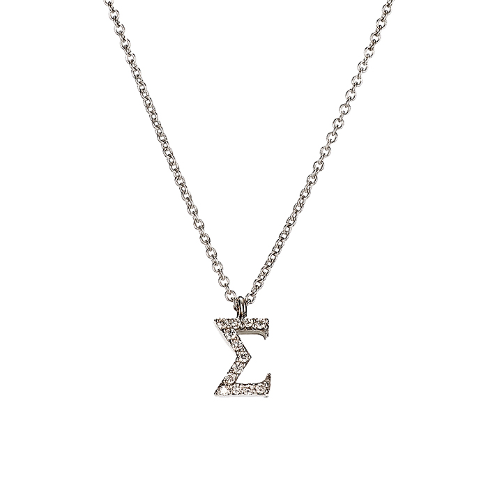 Μενταγιόν Μονόγραμμα Σ με Διαμάντια Λευκόχρυσος Κ18 - 10014Σ