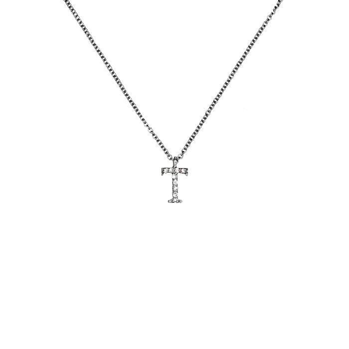 Μενταγιόν Μονόγραμμα Τ με Διαμάντια Λευκόχρυσος Κ18 - 10014Τ