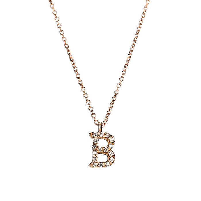 Μενταγιόν Μονόγραμμα Β με Διαμάντια Ροζ Χρυσός Κ18 - 10014B