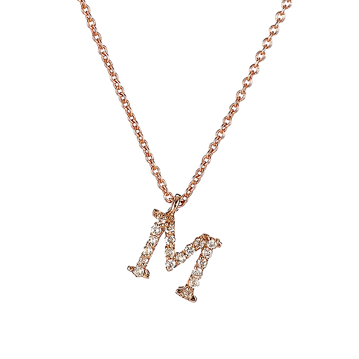 Μενταγιόν Μονόγραμμα Μ με Διαμάντια Ροζ Χρυσός Κ18 - 10014M