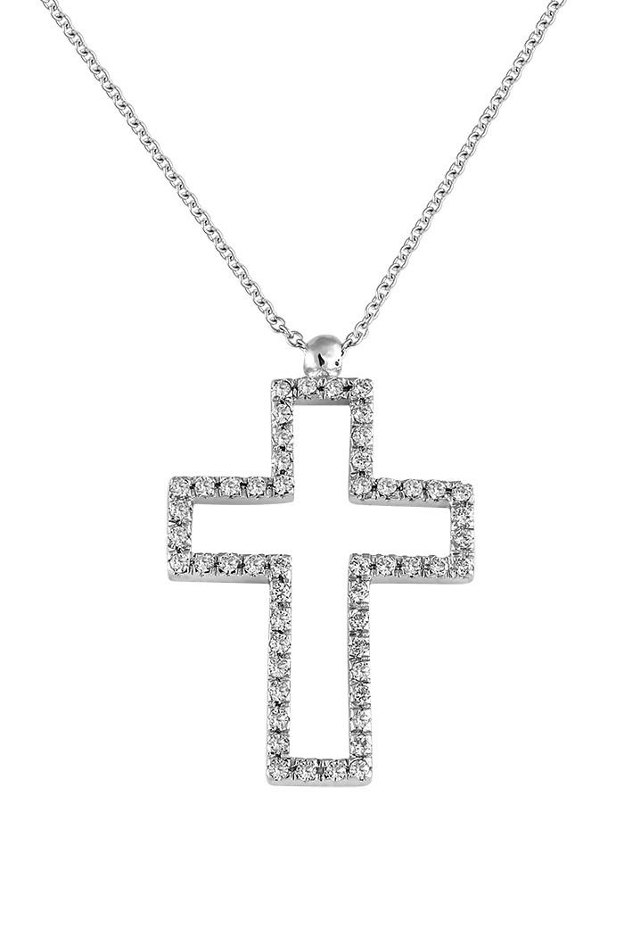 Σταυρός με Διαμάντια Λευκόχρυσος Κ18 - 10059