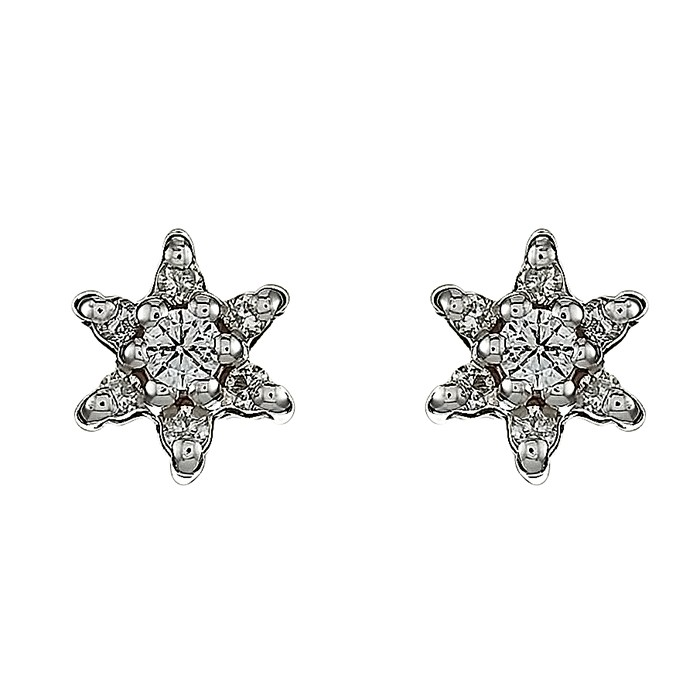 Σκουλαρίκια με Διαμάντια Λευκόχρυσος Κ18 - 11009