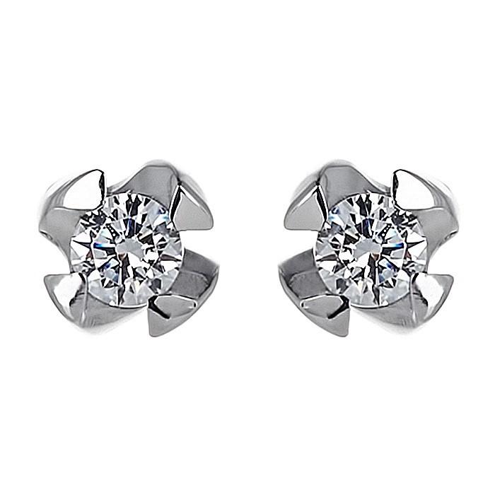 Σκουλαρίκια Μονόπετρα με Διαμάντια Λευκόχρυσος Κ18 - 11013
