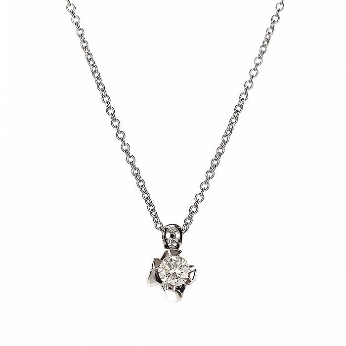 Μονόπετρο Μενταγιόν με Διαμάντι Λευκόχρυσος Κ18 - 11013