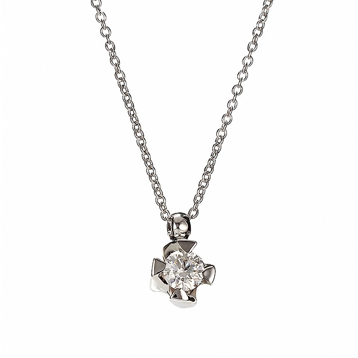 Μονόπετρο Μενταγιόν με Διαμάντι Λευκόχρυσος Κ18 - 11014