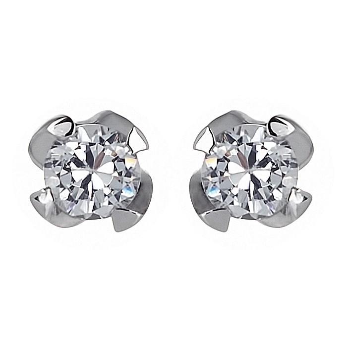 Σκουλαρίκια Μονόπετρα με Διαμάντια Λευκόχρυσος Κ18 - 110151E