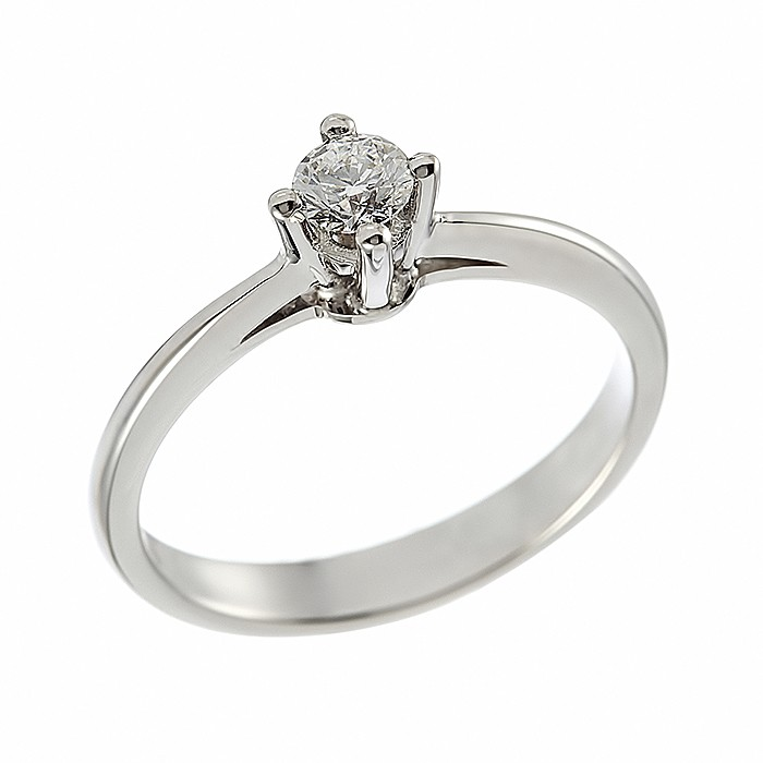 Δαχτυλίδι Μονόπετρο με Διαμάντι Λευκόχρυσος Κ18 - 11032