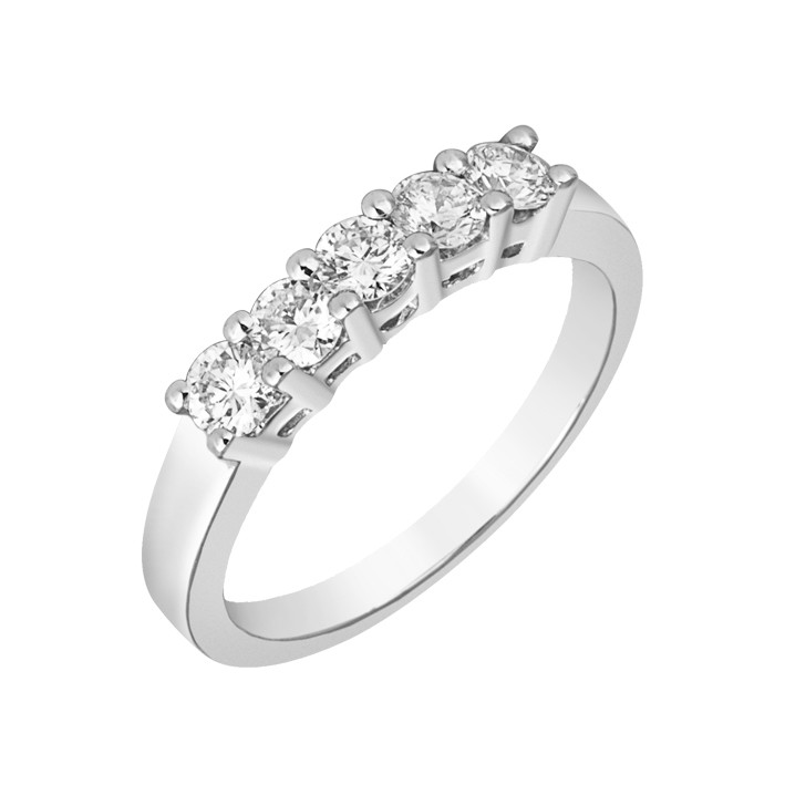 Δαχτυλίδι Μισόβερο με Διαμάντια Λευκόχρυσος Κ18 - 11372