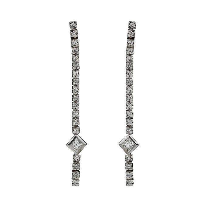 Σκουλαρίκια με Διαμάντια Λευκόχρυσος Κ18 - 30112