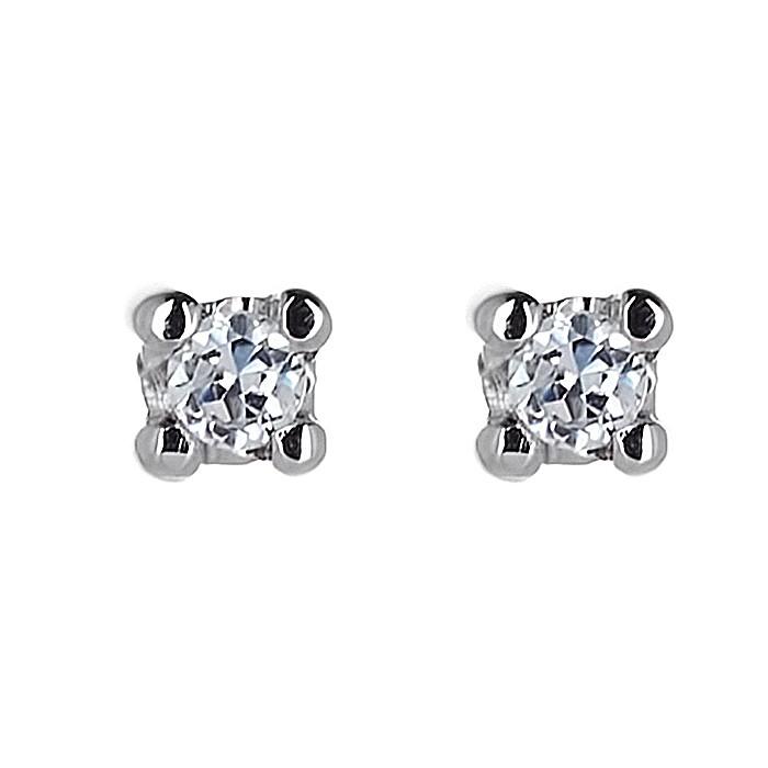 Σκουλαρίκια Μονόπετρα με Διαμάντια Λευκόχρυσος Κ18 - 31102A
