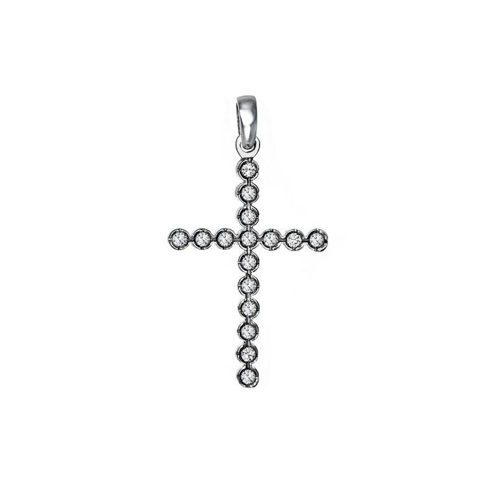 Σταυρός με Διαμάντια Λευκόχρυσος Κ18 - 55005