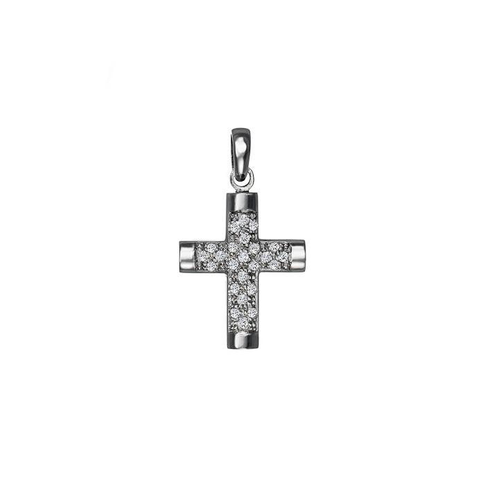 Σταυρός με Διαμάντια Λευκόχρυσος Κ18 - 55011