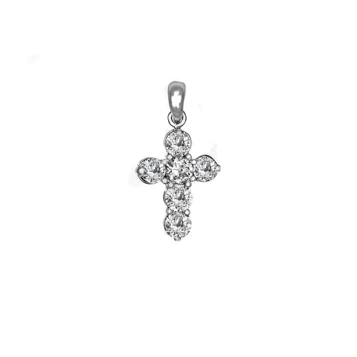 Σταυρός με Διαμάντια Λευκόχρυσος Κ18 - 55022