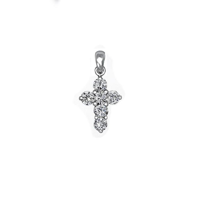Σταυρός με Διαμάντια Λευκόχρυσος Κ18 - 55023