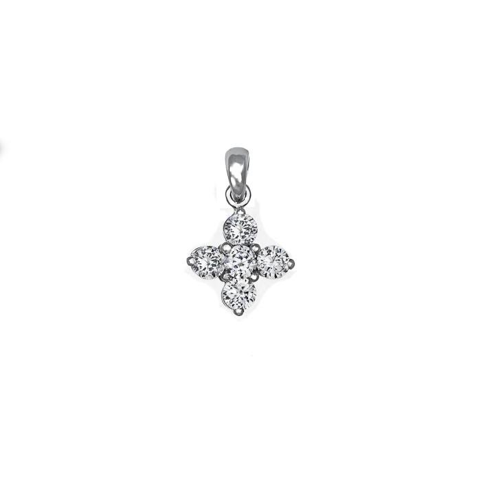 Σταυρός με Διαμάντια Λευκόχρυσος Κ18 - 55024