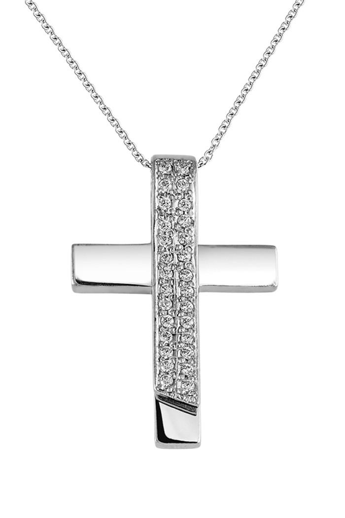 Σταυρός με Διαμάντια Λευκόχρυσος Κ18 - 55028