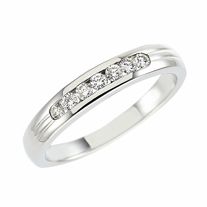 Δαχτυλίδι Μισόβερο με Διαμάντια Λευκόχρυσος Κ18 - 90123