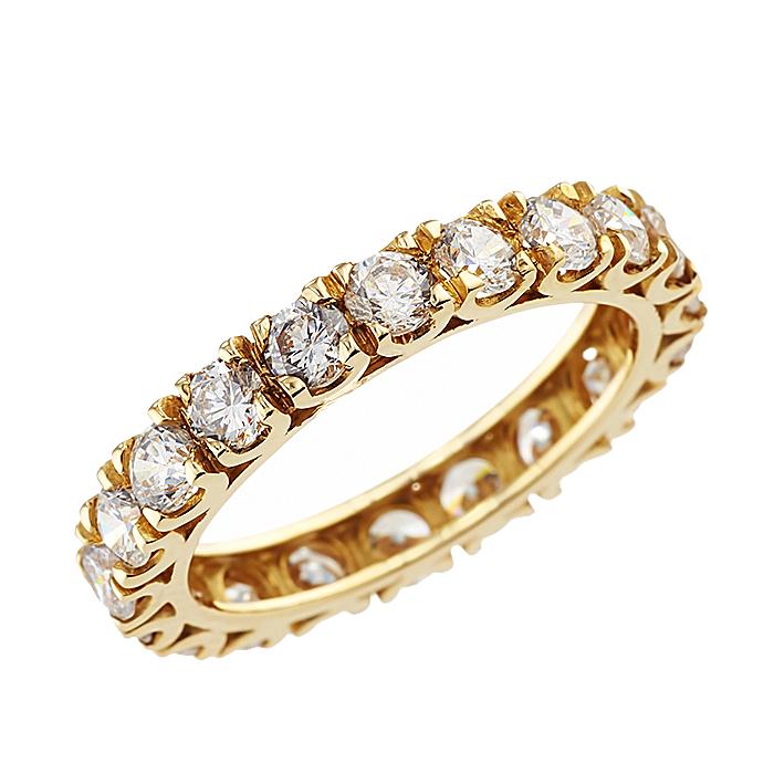 Δαχτυλίδι Ολόβερο με Ζιργκόν Χρυσός Κ14 - 90242Y