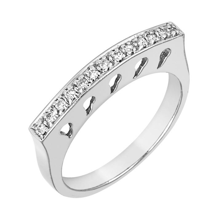 Δαχτυλίδι Μισόβερο με Διαμάντια Λευκόχρυσος Κ18 - 90655