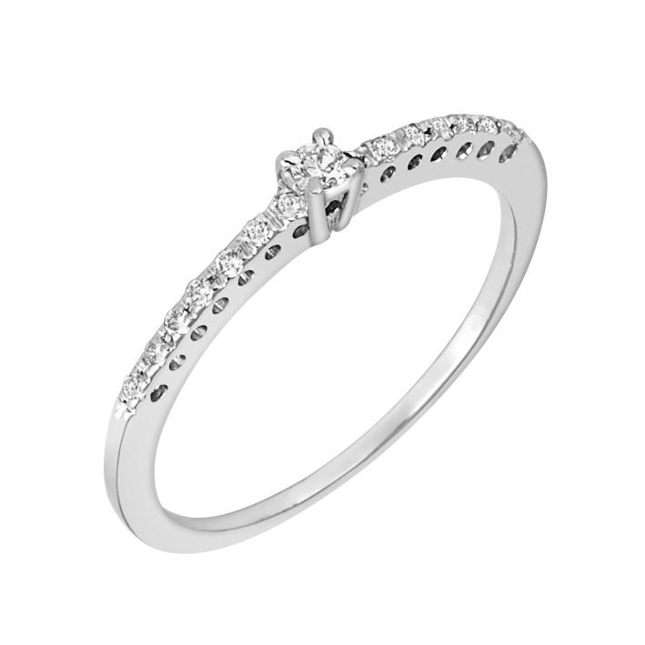 Δαχτυλίδι Μισόβερο με Διαμάντια Λευκόχρυσος Κ18 - 91146