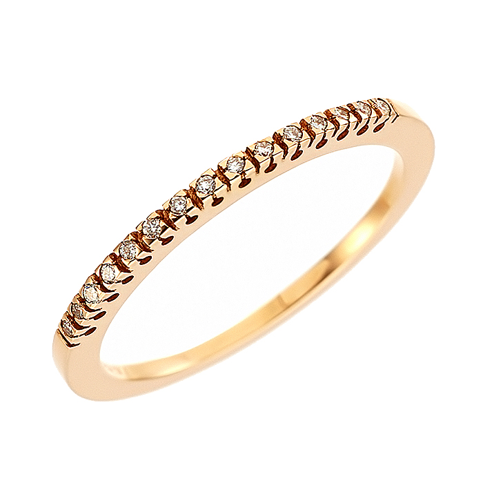 Δαχτυλίδι Μισόβερο με Διαμάντια Ροζ Χρυσός Κ18 - 91151RE