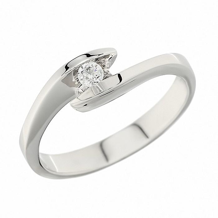 Δαχτυλίδι Μονόπετρο με Διαμάντι Λευκόχρυσος Κ18 - 91236