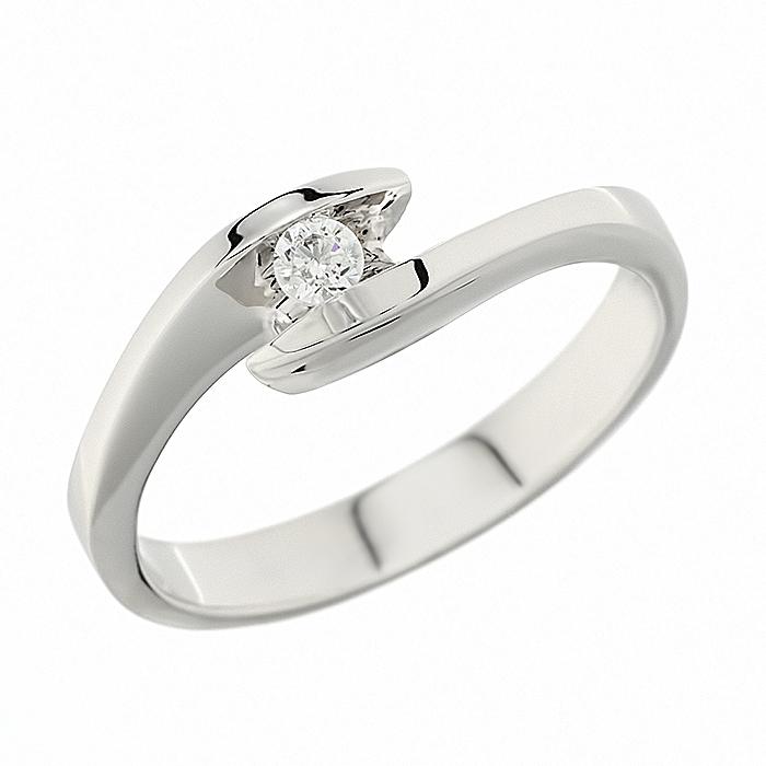 Δαχτυλίδι Μονόπετρο με Διαμάντι Λευκόχρυσος Κ18 - 912364R