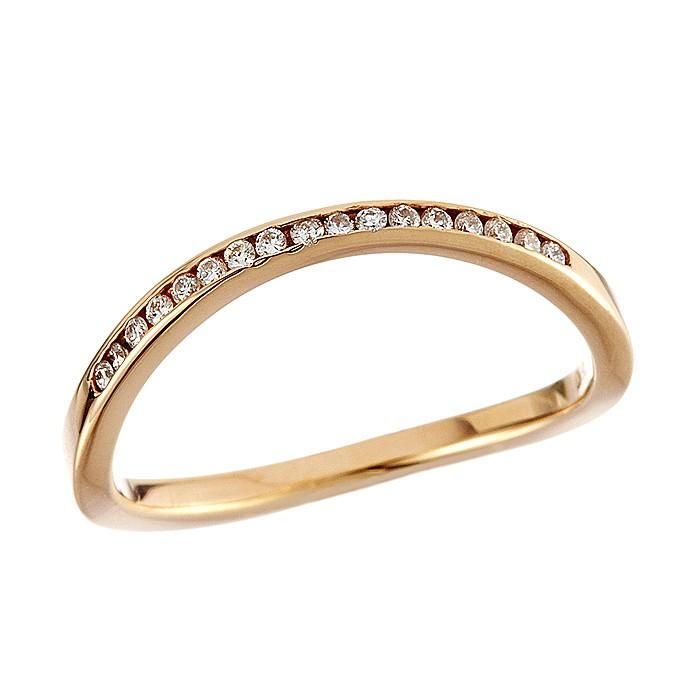 Δαχτυλίδι Μισόβερο με Διαμάντια Ροζ Χρυσός Κ18 - 91276RE