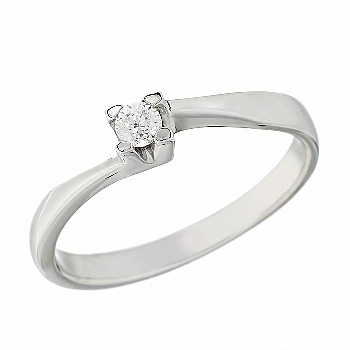 Δαχτυλίδι Μονόπετρο με Διαμάντι Λευκόχρυσος Κ18 - 912823R