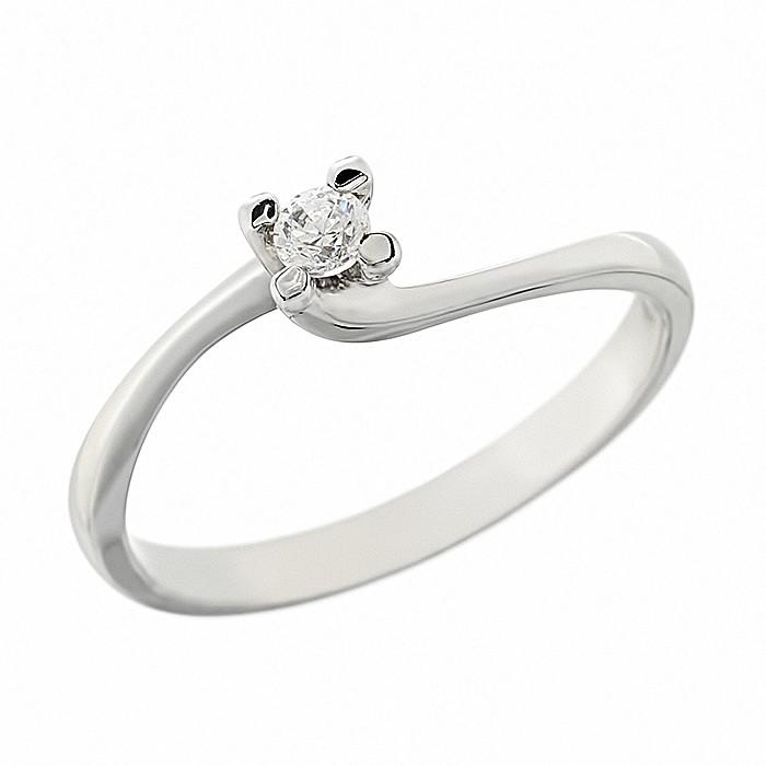 Δαχτυλίδι Μονόπετρο με Διαμάντι Λευκόχρυσος Κ18 - 912843R