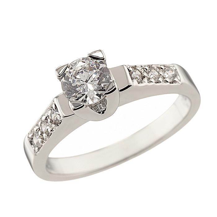 Δαχτυλίδι Μονόπετρο με Ζιργκόν Λευκόχρυσος Κ14 - 92056