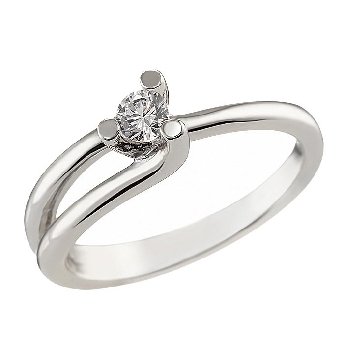 Δαχτυλίδι Μονόπετρο με Ζιργκόν Λευκόχρυσος Κ14 - 92131